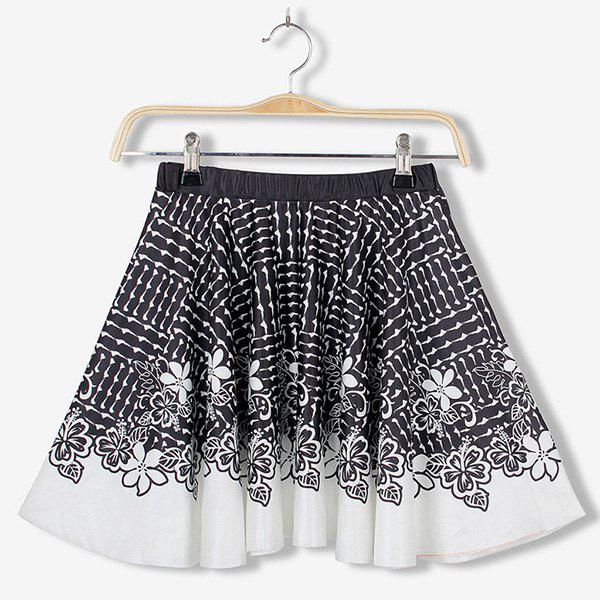 Refreshing Elastic Waist Flower Print Pleated Skirt For Women - BLACK ONE SIZE(FIT SIZE XS TO M)