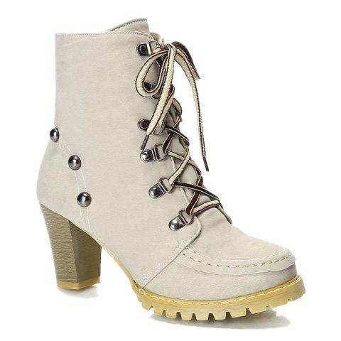 Fashionable Metal and Stitching Design Short Boots For Women - OFF WHITE 39