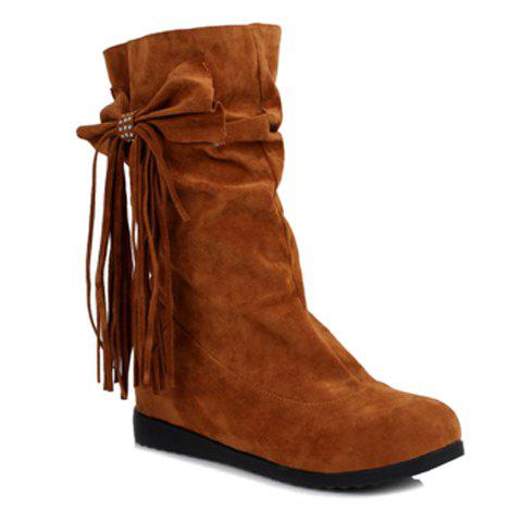 Stylish Bow and Fringe Design Women's Mid-Calf Boots - BROWN 36