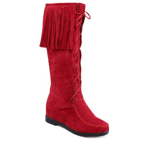 Sweet Lace-Up and Fringe Design Mid-Calf Boots For Women - RED 40