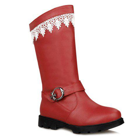 Sweet Lace and Buckle Strap Design Mid-Calf Boots For Women - RED 39