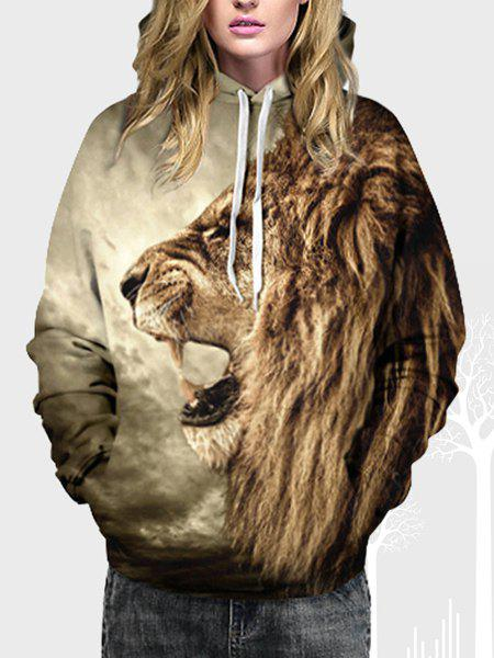 Stylish Hooded Lion Print Long Sleeve Hoodie For Women - COLORMIX S