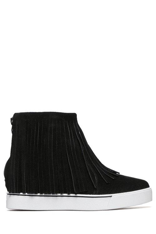 Simple Style Pure Color and Fringe Design Women's Ankle Boots - BLACK 38
