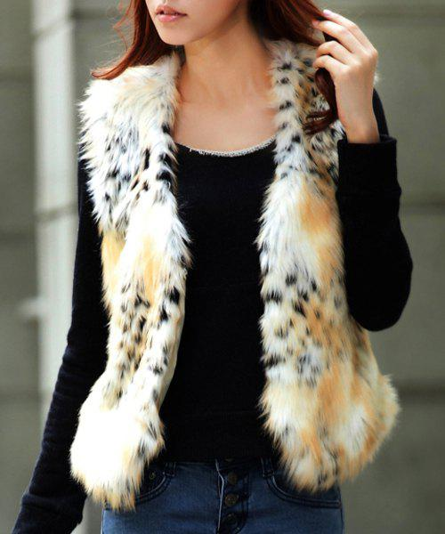 Stylish Fake Fur Leopard Waistcoat For Women - WHITE L