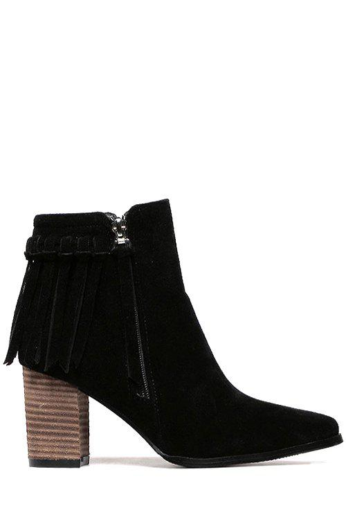 Vintage Pure Color and Tassel Design Women's Ankle Boots - BLACK 37