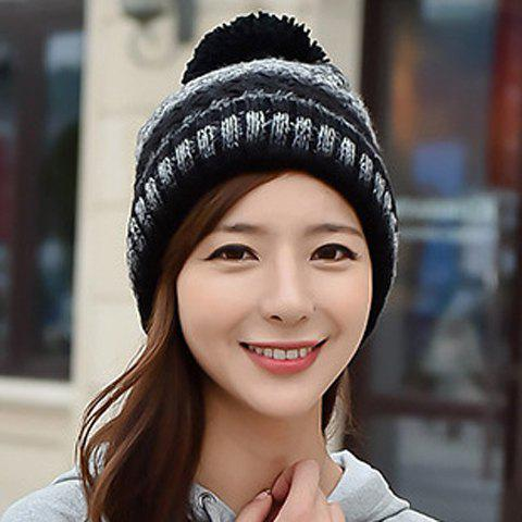 Chic Woolen Yarn Ball Embellished Women's Striped Knitted Beanie