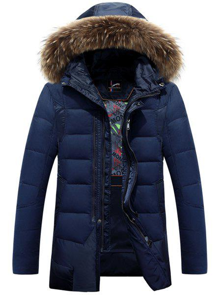 Double Zipper Fabric Spliced Rib Cuffs Slimming Detachable Hooded Long Sleeves Men's Down Coat