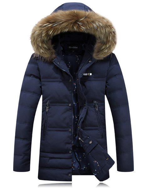 Fashion Hooded Zipper Pocket PU Leather Spliced Solid Color Long Sleeves Men's Down Coat - BLUE XL
