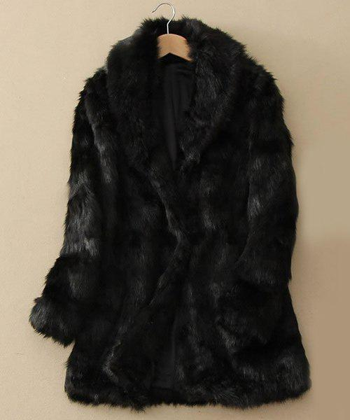 Fake Fur Long Sleeve Turn-Down Collar Coat For Women - BLACK L