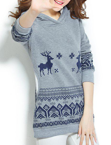 Chic Style Pocket Design Hooded Long Sleeve Christmas Hoodie For Women - DEEP GRAY M