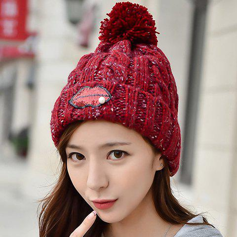 Chic Lip Shape Sequins Embellished Women's Thicken Knitted Beanie