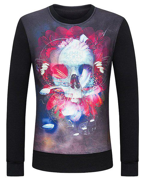 Modern Style Round Neck 3D Abstract Skulls Print Hit Color Long Sleeves Men's Fitted Sweatshirt - BLACK S