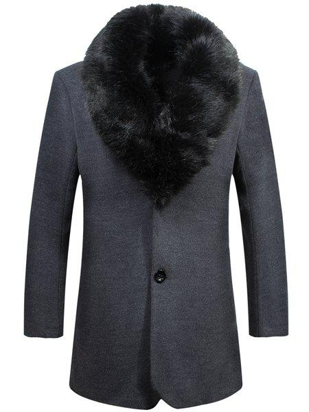 Laconic Detachable Fur Collar One Button Single Breasted Back Slit Long Sleeves Men's Flocky Coat - DEEP GRAY XL