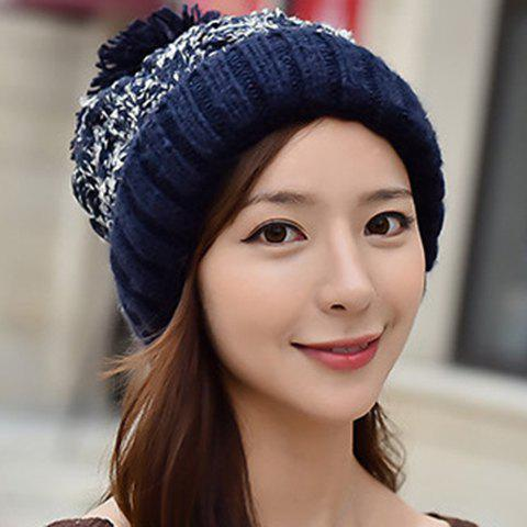 Chic Woolen Yarn Ball Embellished Mixed Color Women's Thicken Knitted Beanie - RANDOM COLOR