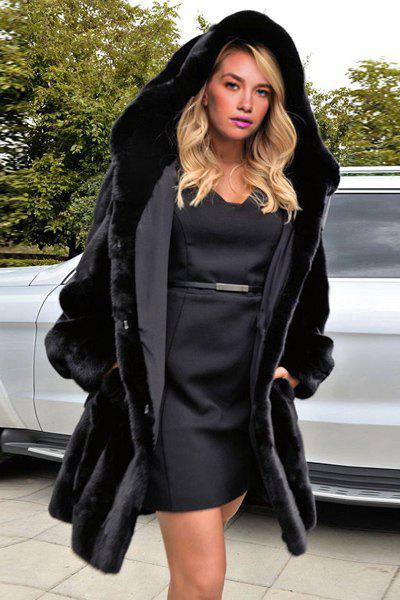 Casual Women's Hooded Long Sleeve Faux Fur Coat, BLACK, M in ...