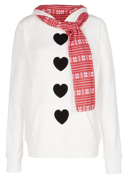 Stylish Hooded Long Sleeve Self Tie Design Heart Pattern Women's Hoodie - WHITE S