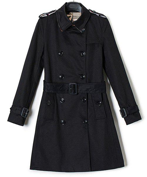 Trendy Turn-Down Neck Long Sleeve Double-Breasted Women's Trench Coat - BLACK S