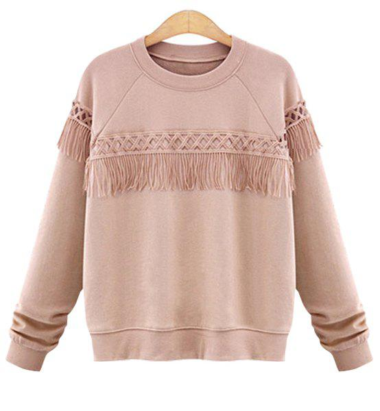 Stylish Fringed Loose-Fitting Jewel Neck Long Sleeve Sweatshirt For Women - PINK 4XL