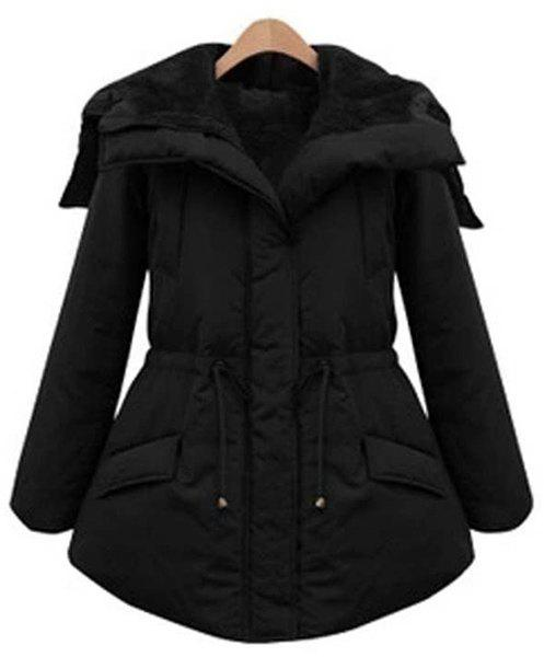 Chic Style Black Drawstring Turn-Down Collar Long Sleeve Coat For Women - 2XL BLACK