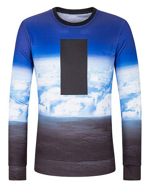 Slimming Round Neck Clouds Pattern Color Spliced Long Sleeves Men's 3D Printed Sweatshirt - COLORMIX XL