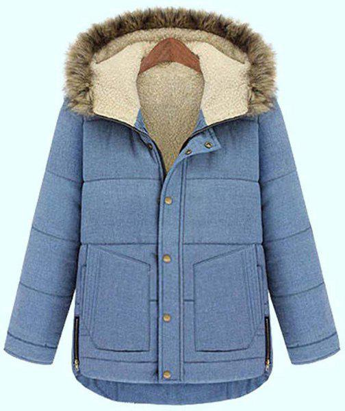 Chic Style Light Blue Button Design Hooded Long Sleeve Coat For Women - LIGHT BLUE 3XL