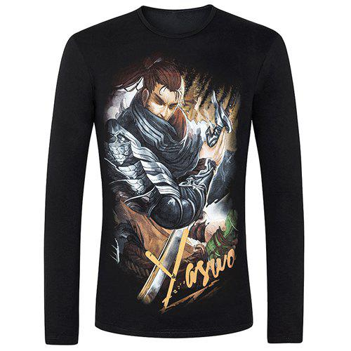 Vogue Round Neck 3D Animal Figure Print Fitted Long Sleeves Men's Cool T-Shirt - BLACK S