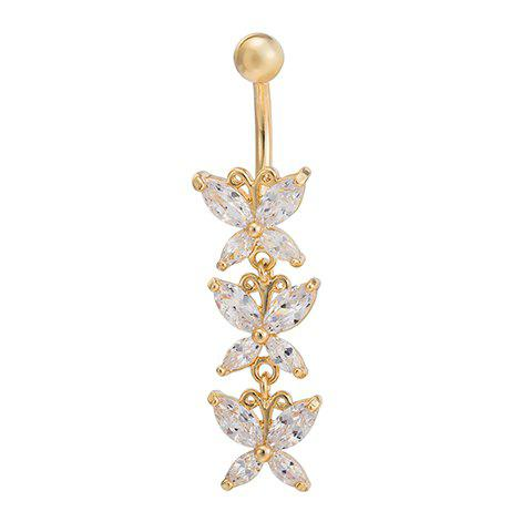 Chic Rhinestoned Butterfly Navel Button For Women - WHITE
