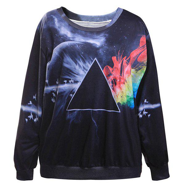 Chic 3D Print Long Sleeve Jewel Neck Sweatshirt For Women - BLACK ONE SIZE(FIT SIZE XS TO M)