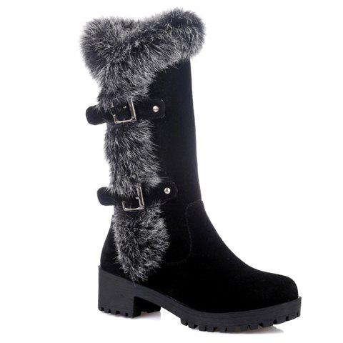 Fashionable Faux Fur and Flock Design Mid-Calf Boots For Women - BLACK 38