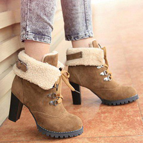 Chunky Heel Foldover Booties - BROWN 34