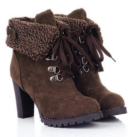 Chunky Heel Foldover Booties - DEEP BROWN 35