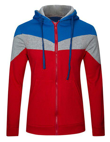Classic Color Lump Splicing Front Pocket Slimming Drawstring Hooded Long Sleeves Men's Hoodie - RED 2XL