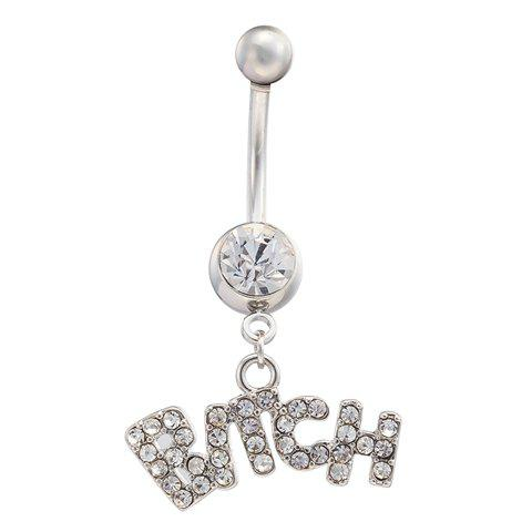 Stylish Rhinestone Letter Navel Button For Women