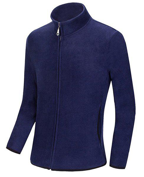 Multicolor Optional Stand Collar Color Block Purfled Loose Fit Long Sleeves Men's Sweatshirt - CADETBLUE M