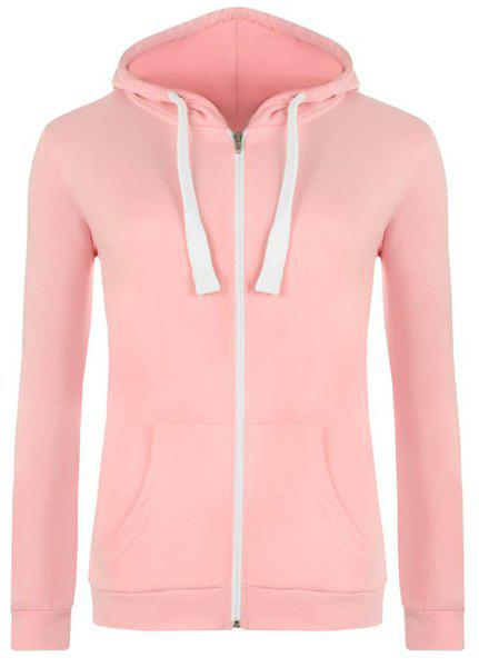 Stylish Hooded Long Sleeve Solid Color Zip Up Women's Hoodie - PINK S