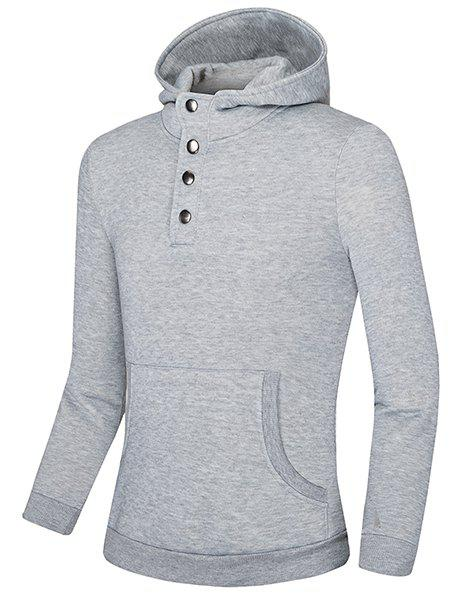 Metal Single-Breasted Front Pocket Solid Color Slimming Hooded Long Sleeves Men's Hoodie - LIGHT GRAY XL