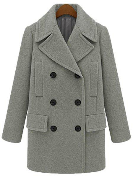 Attractive Lapel Long Sleeve Solid Color Thick Peacoat For Women stylish lapel collar long sleeves solid color women s peacoat