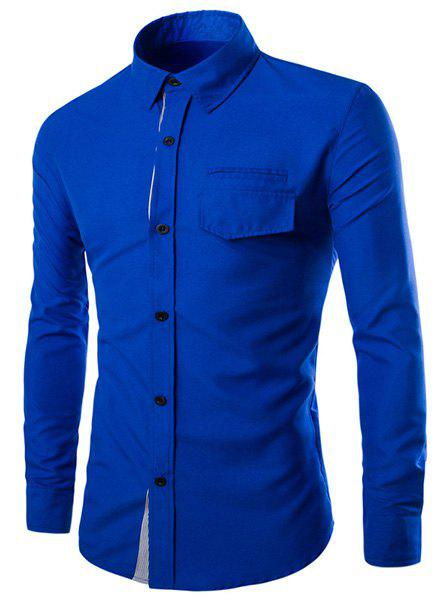 Color Block Striped Button Fly Flap Pocket Shirt Collar Long Sleeves Men's Slimming Shirt - BLUE M