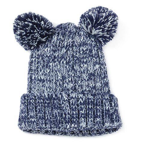 Chic Two Woolen Yarn Balls Embellished Mixed Color Women's Knitted Beanie - CADETBLUE
