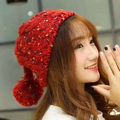 Chic Woolen Yarn Ball Pendant Embellished Candy Color Women's Knitted Beanie - RED