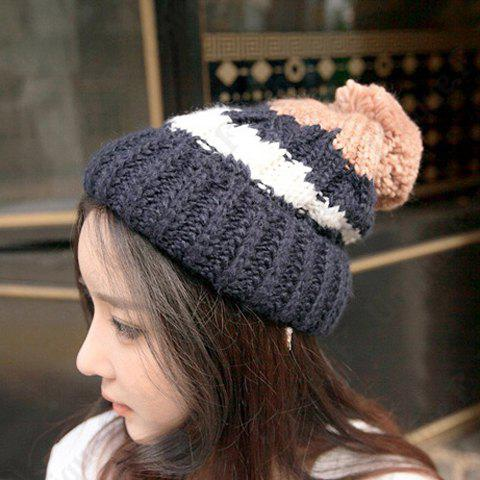 Chic Small Ball Embellished Color Block Women's Knitted Beanie - CADETBLUE