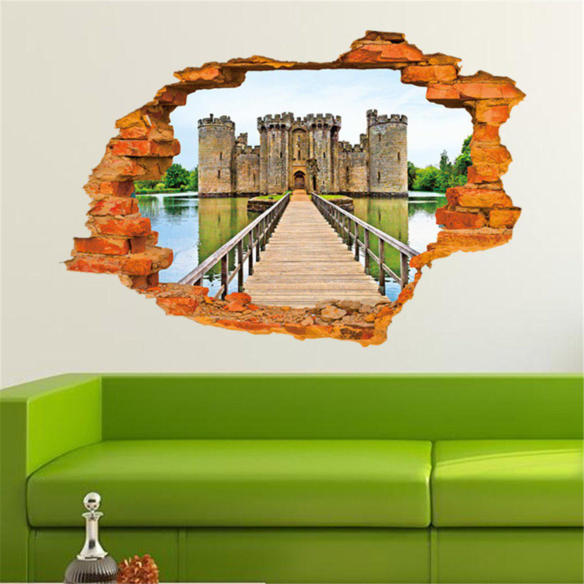Personalized 3D Old Castle Style Removable Wall Stickers Colorful Room Window Decoration 3d horse rushing window living room decoration wall stickers