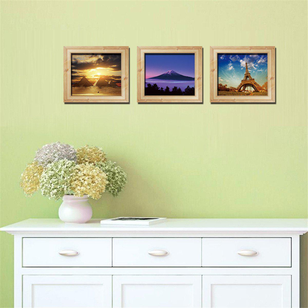 Personalized 3D Frame Scenery Painting Style Removable Wall Stickers Colorful Room Window Decoration 3d horse rushing window living room decoration wall stickers
