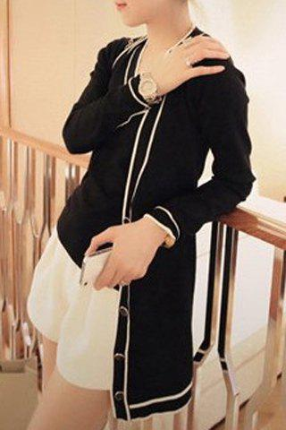 Chic Style V Neck Long Sleeve Knitted Vest and Cardigan Twinset For Women - BLACK ONE SIZE(FIT SIZE XS TO M)