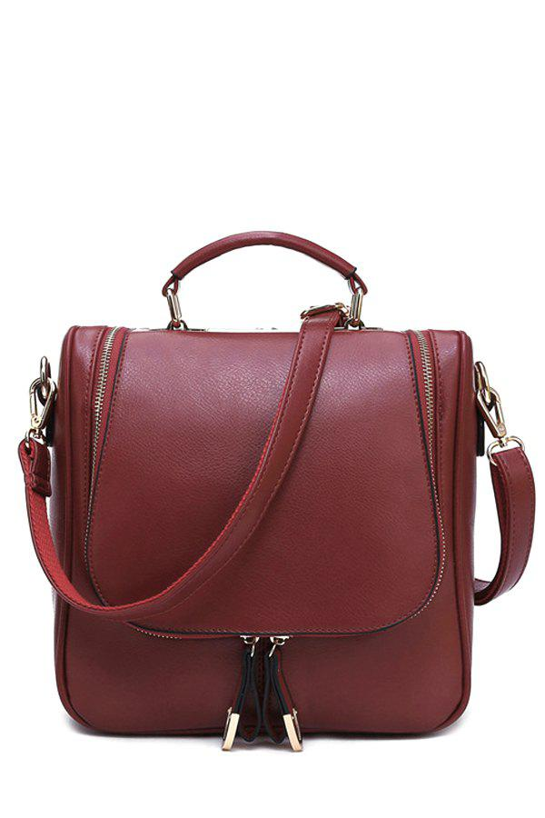 Trendy Zippers and Candy Color Design Women's Tote Bag - WINE RED