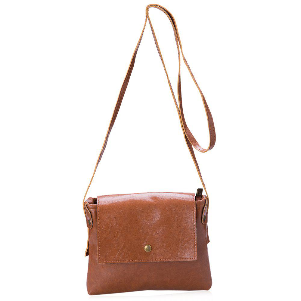 Women Girls PU Leather Casual Solid Color Cross-Body Mini Shoulder Bag