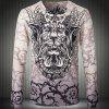 V-Neck 3D Dragon Print Long Sleeve Slimming Men's T-Shirt - COLORMIX M