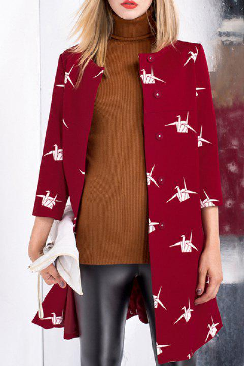 Sweet Round Neck 3/4 Sleeve Paper Crane Single-Breasted Women's Trench Coat - RED M