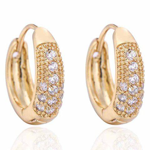 Pair of Rhinestone Hoop Earrings - GOLDEN