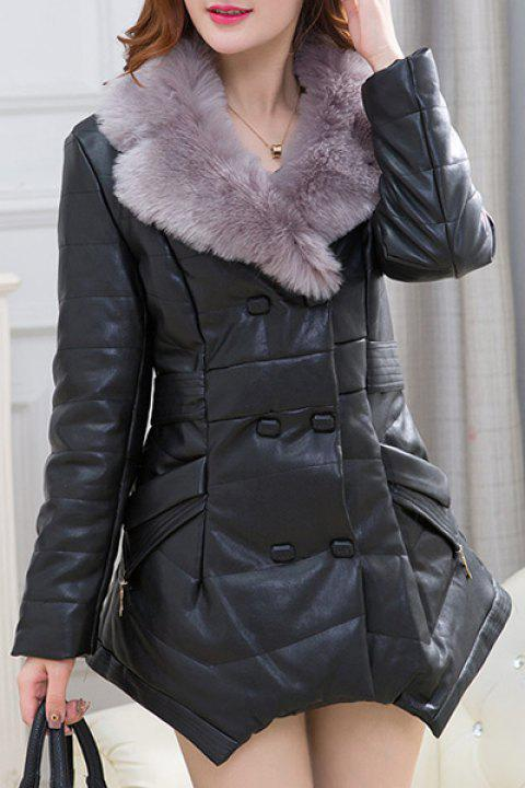3050c2a0c6 Charming Faux Fur V-Neck Ruched Irregular Thick Faux Leather Down Coat For  Women -